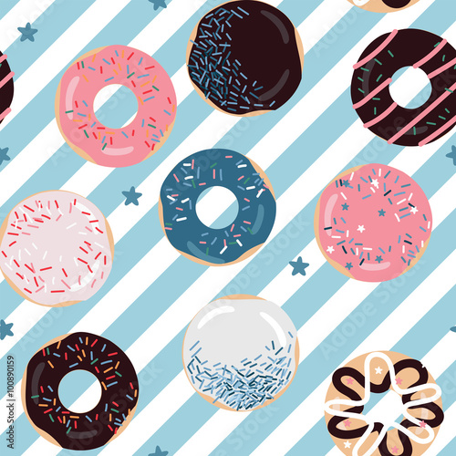 Cotton fabric Delicious pastel colors donuts pattern. Perfect for wrapping paper, background, fabric