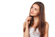 Young Beautiful Woman Thinking...