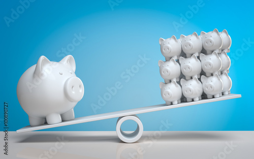 Photo 3d Sparschwein Geld streuen