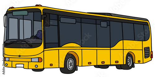 Fotografia, Obraz  Yellow city bus / Hand drawing, vector illustration