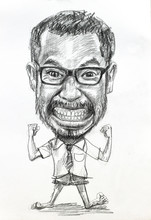 Caricature Pencil Drawing Of Angry Man Wearing Eyeglasses On White Paper