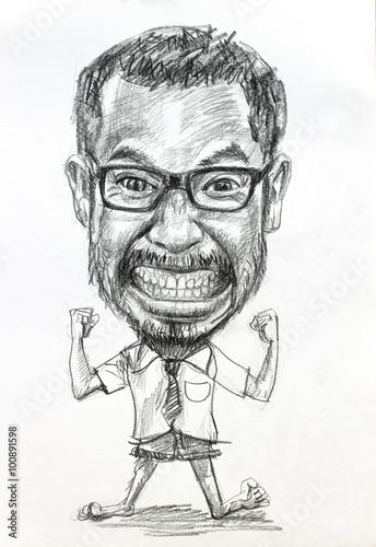 Valokuvatapetti Caricature pencil drawing of angry man wearing eyeglasses on white paper