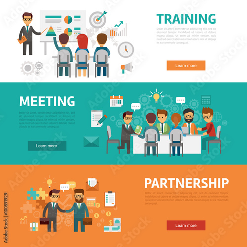 Business concept flat banners, icons set of office meeting, training ...