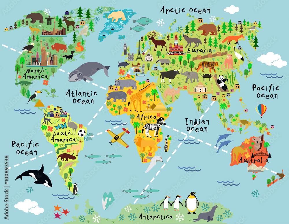 Fototapety, obrazy: Cartoon world map