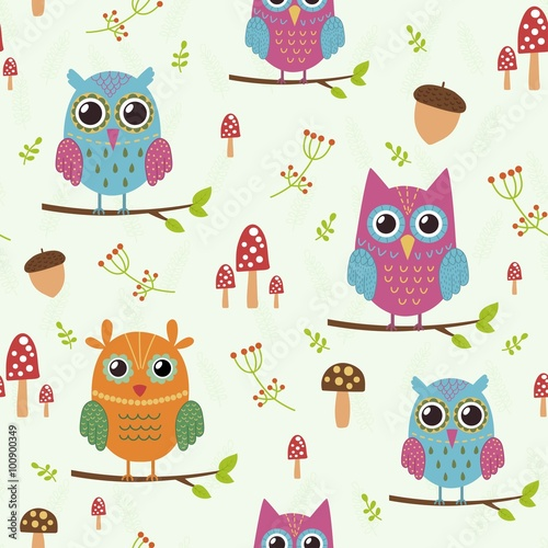 Poster Vogels, bijen Forest seamless pattern with cute owls. Great choice for cloth design, wallpaper, textile, wrapping and other pattern fills. Vector illustration