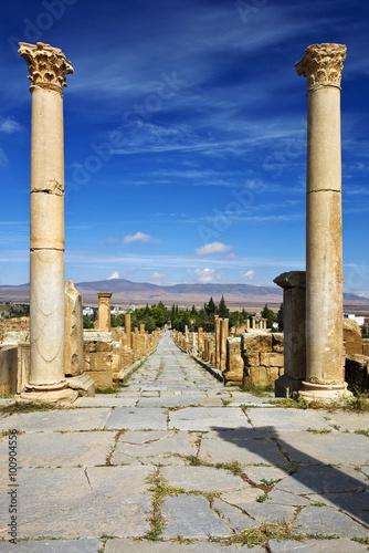 Wall Murals Algeria Algeria. Timgad (ancient Thamugadi or Thamugas). Cardo street and surrounding colonnade - view from forum, where Cardo crossing (and terminates in a forum) with Decumanus Maximus