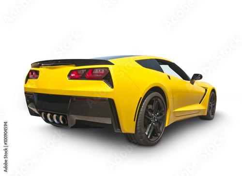 fototapeta na lodówkę Yellow Sports Car