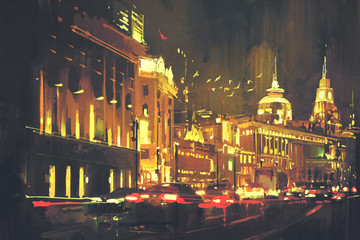 Fototapeta Wieżowce painting of city street with colorful light,Shanghai The Bund at night