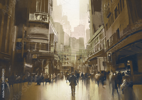 people on street in city,cityscape painting with vintage style - 100906133