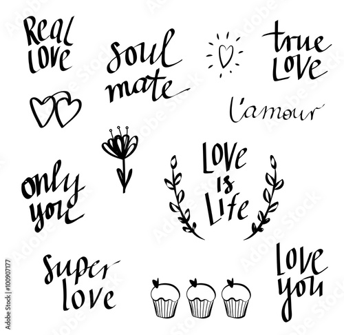 Set of hand written words on love theme love doodle lettering set of hand written words on love theme love doodle lettering vector m4hsunfo