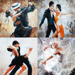 Panel Szklany Do szkoły tańca tango dancers, oil painting, girl ballerina. 4 IN 1