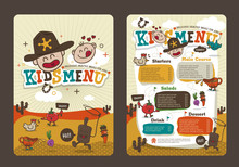 Cute Colorful Kids Meal Menu Vector Template With Cowboy Cartoon
