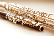 Two Flute Close Up Lying On A ...
