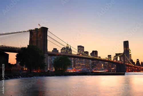 Deurstickers Eiffeltoren Brooklyn Bridge