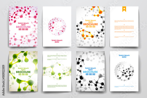 Fototapety, obrazy: Set of brochure, poster design templates in DNA molecule style
