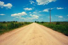 Rural Landscape, Dirt Road In Summer