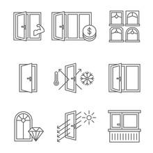 Windows Icon Set With Door And Balcony.