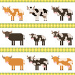 Cows, bulls and calf flat vector illustration
