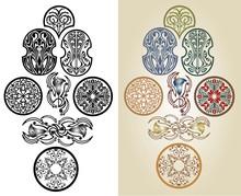 Set Of Abstract Art Nouveau Si...