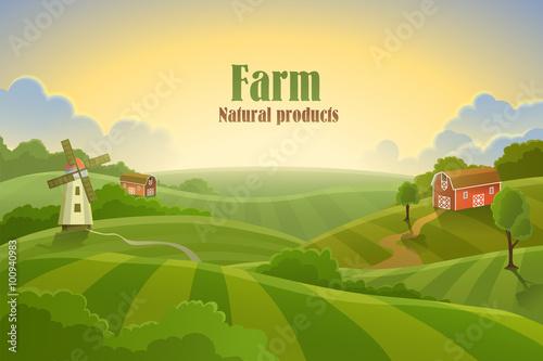 Foto  Farm flat landscape