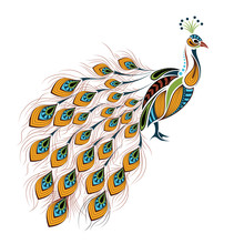 Patterned Colored Peacock. African / Indian / Totem / Tattoo Design. It May Be Used For Design Of A T-shirt, Bag, Postcard And Poster.