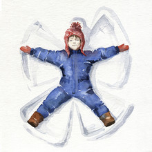 Little Girl Making A Snow Angel. Watercolor Illustration.