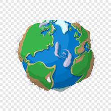 Earth In Cartoon Style