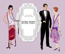 Retro Party Invitation Design. Flapper Girl And Man Over Vintage