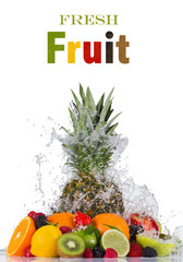 Panel Szklany Fresh fruit in water splash on white background