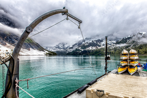 Valokuva  Kayaks stacked on a small ship in Glacier Bay National Park, Alaska