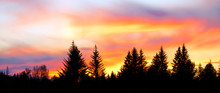 Panorama Of A Colorful Sunset ...