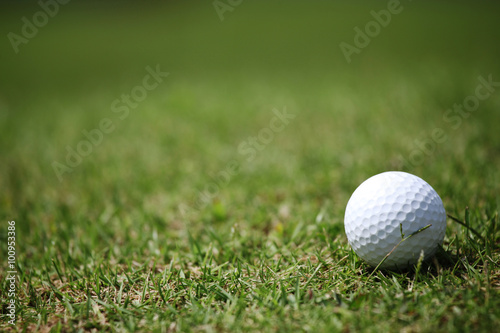 Deurstickers Golf Golf ball in grass