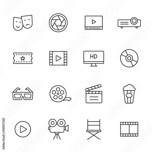Movie Line Icons Wall mural