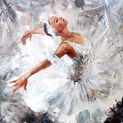 oil painting, girl ballerina. drawn cute ballerina dancing