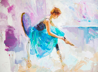 Fototapeta Taniec / Balet oil painting, girl ballerina. drawn cute ballerina