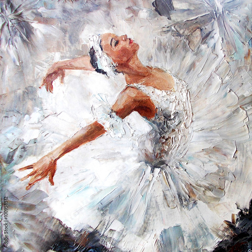 Fotomural oil painting, girl ballerina. drawn cute ballerina dancing