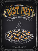 Vintage Bakery Poster With Pastry. Freehand Drawing. Hot Pie
