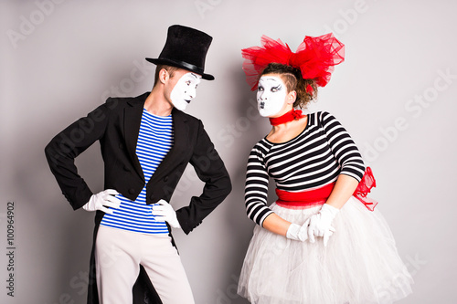 Fotografia, Obraz  Two mimes man and  woman