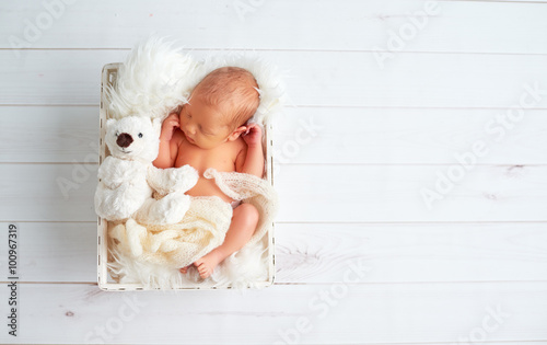 Cute newborn baby sleeps with toy teddy bear in basket