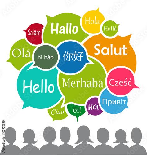 Fotografía  Hallo in verschiedenen Sprachen, Vektor