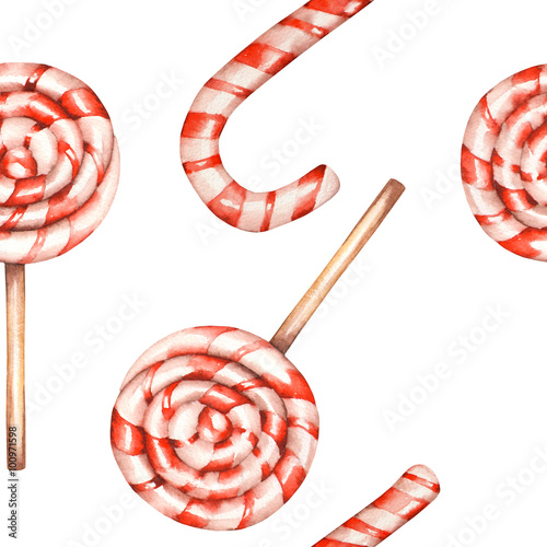 Cotton fabric A seamless sweet pattern with the lollipop (candy cane). Painted in a watercolor hand-drawn on a white background