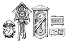 Illustration Of Old Clocks