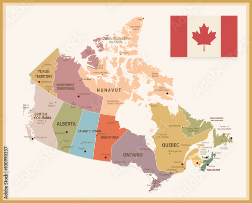 Buy Map Of Canada.Vintage Map Of Canada With Flag Buy This Stock Vector And Explore