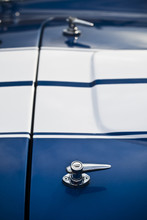 Blue Vintage/Retro Kit Car Close Up. White Stripe Muscle Car Replica Close Up