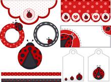 Lady Bug Birthday Design Elements