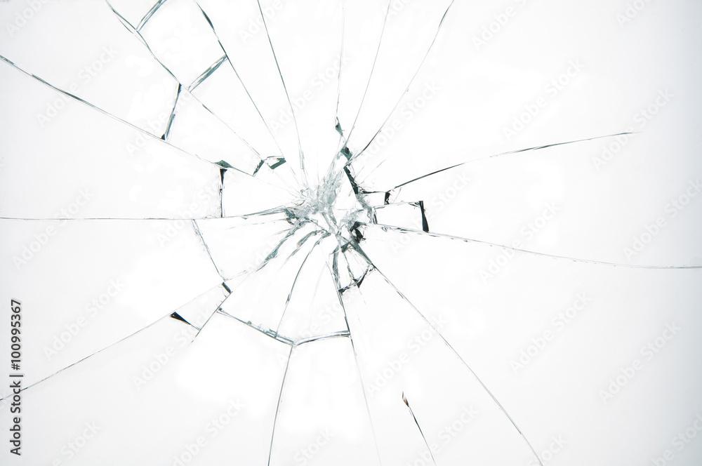 Fototapeta Broken glass on white background