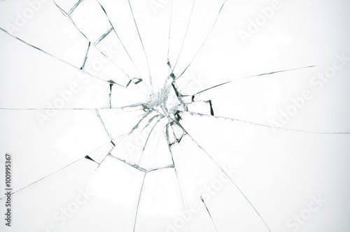Fotografía  El vidrio roto en el fondo blanco
