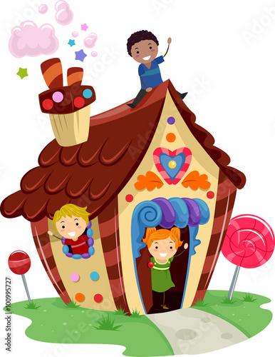 Fotobehang Indiërs Stickman Kids Candy House