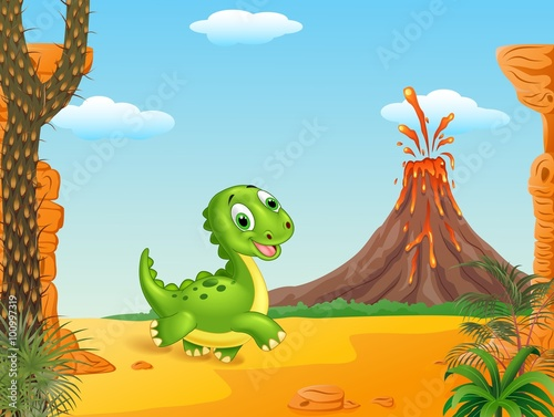 Canvas Prints Dinosaurs Cute baby dinosaur walking with Prehistoric background