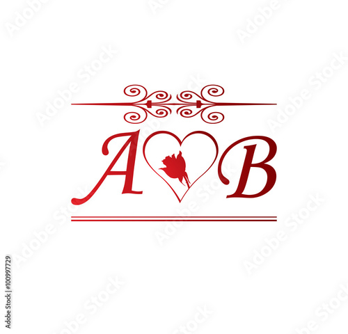 Ab Love Initial With Red Heart And Rose Buy This Stock Vector And Explore Similar Vectors At Adobe Stock Adobe Stock